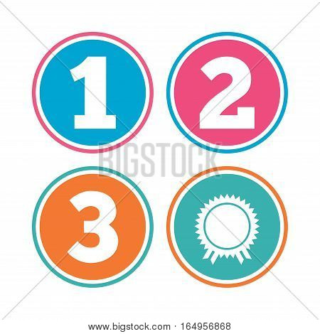 First, second and third place icons. Award medal sign symbol. Colored circle buttons. Vector