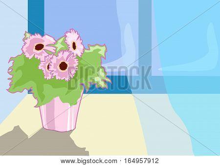 Pink flower in a pot on window sill open window. Blue curtains.