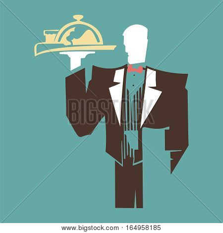 Silhouette elegant waiter holding a tray with a dish. Art retro style