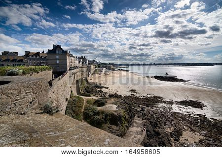 View on Bon Secours beach from the walls of Saint-Malo fortification, Saint-Malo, Bretagne, France
