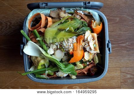 Container Of Domestic Food Waste, Ready To Be Collected By The Recycling Truck