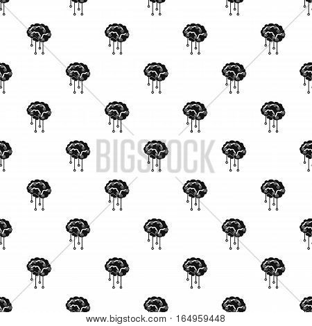 Human brain with sensors pattern. Simple illustration of human brain with sensors vector pattern for web