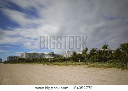 Long exposure image of Miami Beach beachfront hotels and condominiums