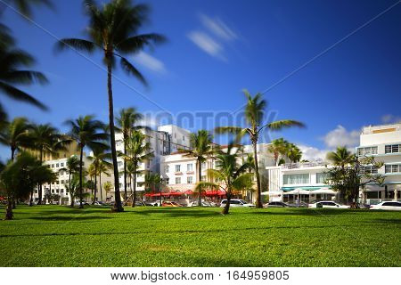 Image of Miami Beach Ocean Drive shot with long 30 second exposure