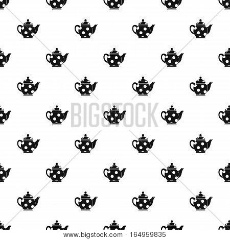 Black spotty teapot pattern. Simple illustration of black spotty teapot vector pattern for web