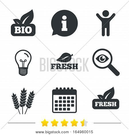 Natural fresh Bio food icons. Gluten free agricultural sign symbol. Information, light bulb and calendar icons. Investigate magnifier. Vector
