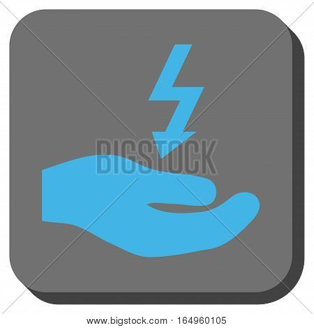 Electricity Supply Hand rounded icon. Vector pictogram style is a flat symbol inside a rounded square button blue and gray colors.