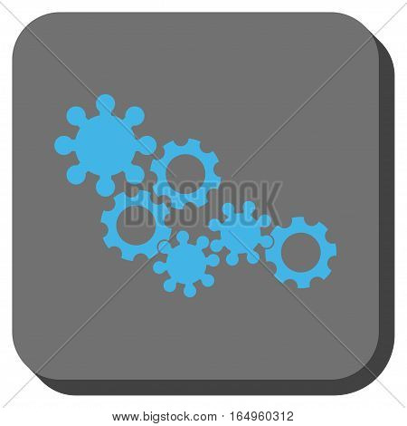 Gear Mechanism interface toolbar icon. Vector pictograph style is a flat symbol on a rounded square button blue and gray colors.