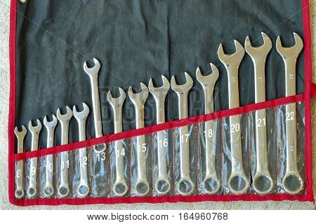 Old set of stainless steel wrenches old combination spanners set. Top view