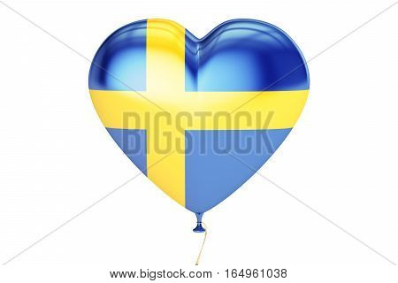balloon with Sweden flag in the shape of heart 3D rendering