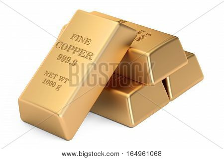 copper bars 3D rendering isolated on white background