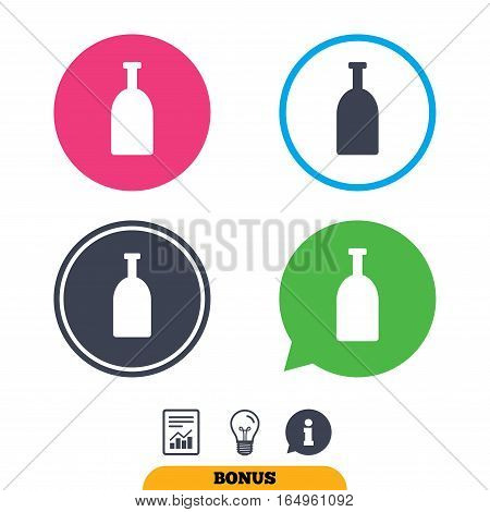 Alcohol sign icon. Drink symbol. Bottle. Report document, information sign and light bulb icons. Vector