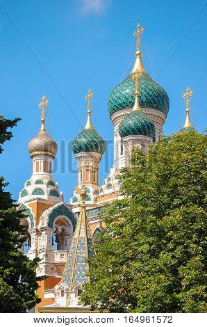 Dome of the St Nicholas Russian Orthodox Churche in Nice on the French Riviera