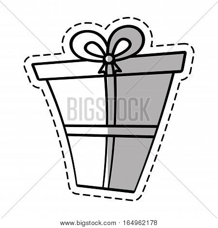 gift box ribbon give party linea shadow vector illustration eps 10