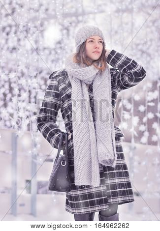 One Young Woman, Coat Scarf Hat Winter