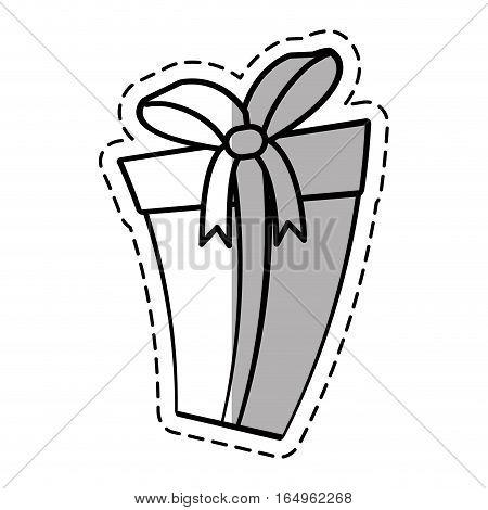 gift box ribbon parcel surprise linea shadow vector illustration eps 10