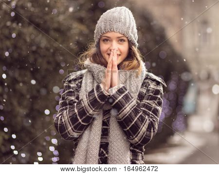 Young Adult Woman Warming Hands Winter Smiling Cute