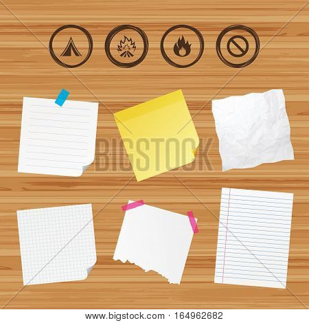 Business paper banners with notes. Tourist camping tent icon. Fire flame and stop prohibition sign symbols. Sticky colorful tape. Vector
