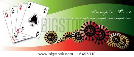 playing cards / poker / win / luck / gambling / in vector poster
