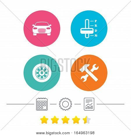 Transport icons. Car tachometer and automatic transmission symbols. Repair service tool with wheel sign. Calendar, cogwheel and report linear icons. Star vote ranking. Vector