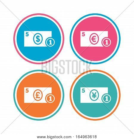 Businessman case icons. Dollar, yen, euro and pound currency sign symbols. Colored circle buttons. Vector
