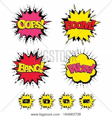 Comic Boom, Wow, Oops sound effects. Businessman case icons. Currency with coins sign symbols. Speech bubbles in pop art. Vector