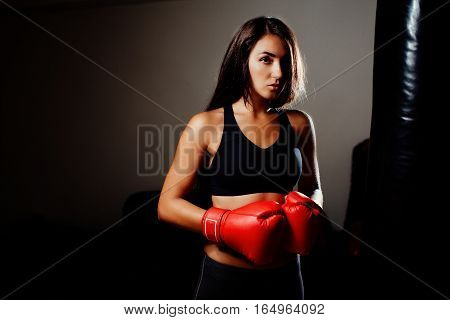 Sexy Fighter Girl In Gym With Boxing Bag