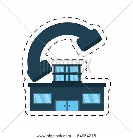 house real estate shape telephone cut line vector illustration eps 10