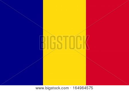 Waving flag of Romania. Vector illustration of icon with blue yellow red colors.