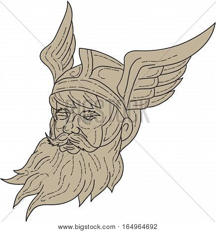 Drawing sketch style illustration of a head of Norse mythology god Odin with beard hat and blind on one eye viewed from front set on isolated white background done in retro style.
