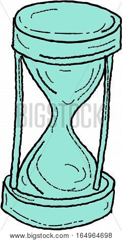 Drawing sketch style illustration of a vintage hour glass set on isolated white background.