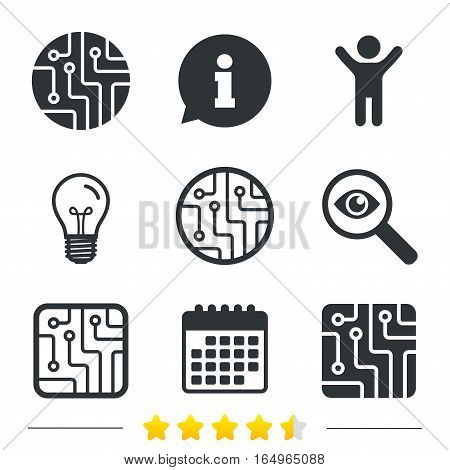 Circuit board icons. Technology scheme circles and squares sign symbols. Information, light bulb and calendar icons. Investigate magnifier. Vector