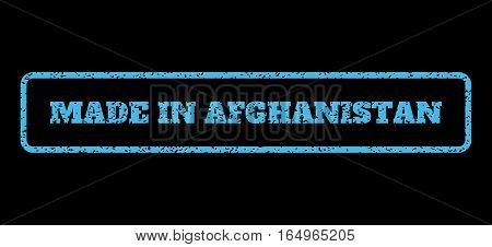 Light Blue rubber seal stamp with Made In Afghanistan text. Vector caption inside rounded rectangular banner. Grunge design and dust texture for watermark labels.
