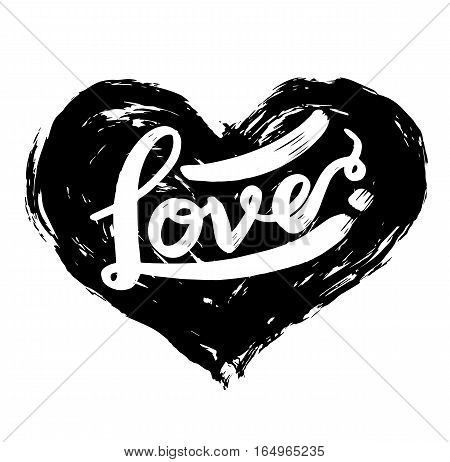 love calligraphy heart shaped. Lettering vector illustration for love concept valentine and wedding card.
