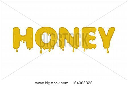 Vector word made of flowing honey. Letters with splatters, drops and stain. Glossy typeface. Text of sweet yellow jelly or liquid drops isolated on white background.