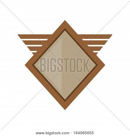 brown shield winged shape geometric badge vector illustration eps 10