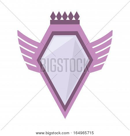 pink shield crown winged shape geometric badge vector illustration eps 10
