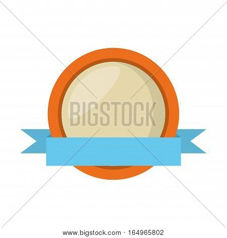 round shield orange frame and ribbon vector illustration eps 10
