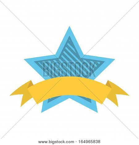 blue star shield with stripes and yellow ribbon vector illustration eps 10