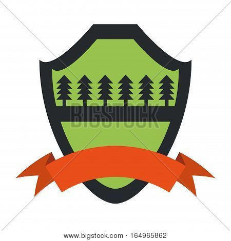 shield protection forest pine orange ribbon green background vector illustration eps 10