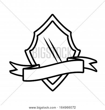 shield insignia with ribbon outline empty vector illustration eps 10
