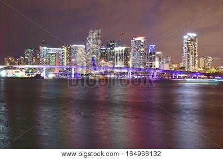 Miami, Florida - Usa - January 08, 2016: Downtown Miami Night Skyline From Watson Island Park