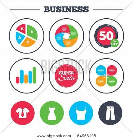Business pie chart. Growth graph. Clothes icons. T-shirt with business tie and pants signs. Women dress symbol. Super sale and discount buttons. Vector