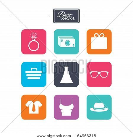 Accessories, clothes icons. Shirt with tie, glasses signs. Dress and engagement ring symbols. Colorful flat square buttons with icons. Vector