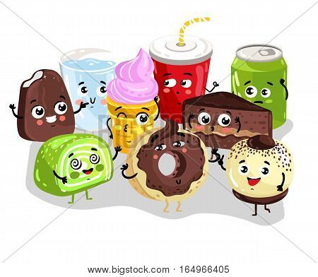 Cute sweet food and drink cartoon character set isolated on white background vector illustration. Funny cake, donut, ice cream, cola soda, lemonade emoticon face icon. Happy cartoon comical face food