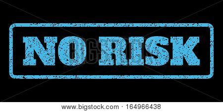 Light Blue rubber seal stamp with No Risk text. Vector caption inside rounded rectangular banner. Grunge design and scratched texture for watermark labels. Horisontal sticker on a black background.