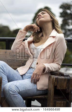 Beautifil woman relaxing and breathing fresh air