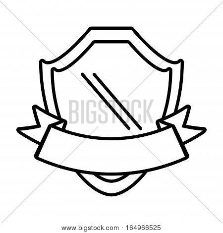 shield with ribbon emblem outline empty vector illustration eps 10