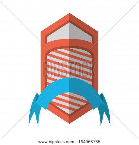 shield emblem stripes blue ribbon shadow vector illustration eps 10