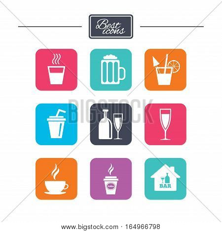 Cocktail, beer icons. Coffee and tea drinks. Soft and alcohol drinks symbols. Colorful flat square buttons with icons. Vector